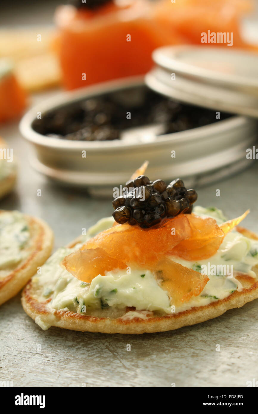 smoked salmon with caviar canapes - Stock Image