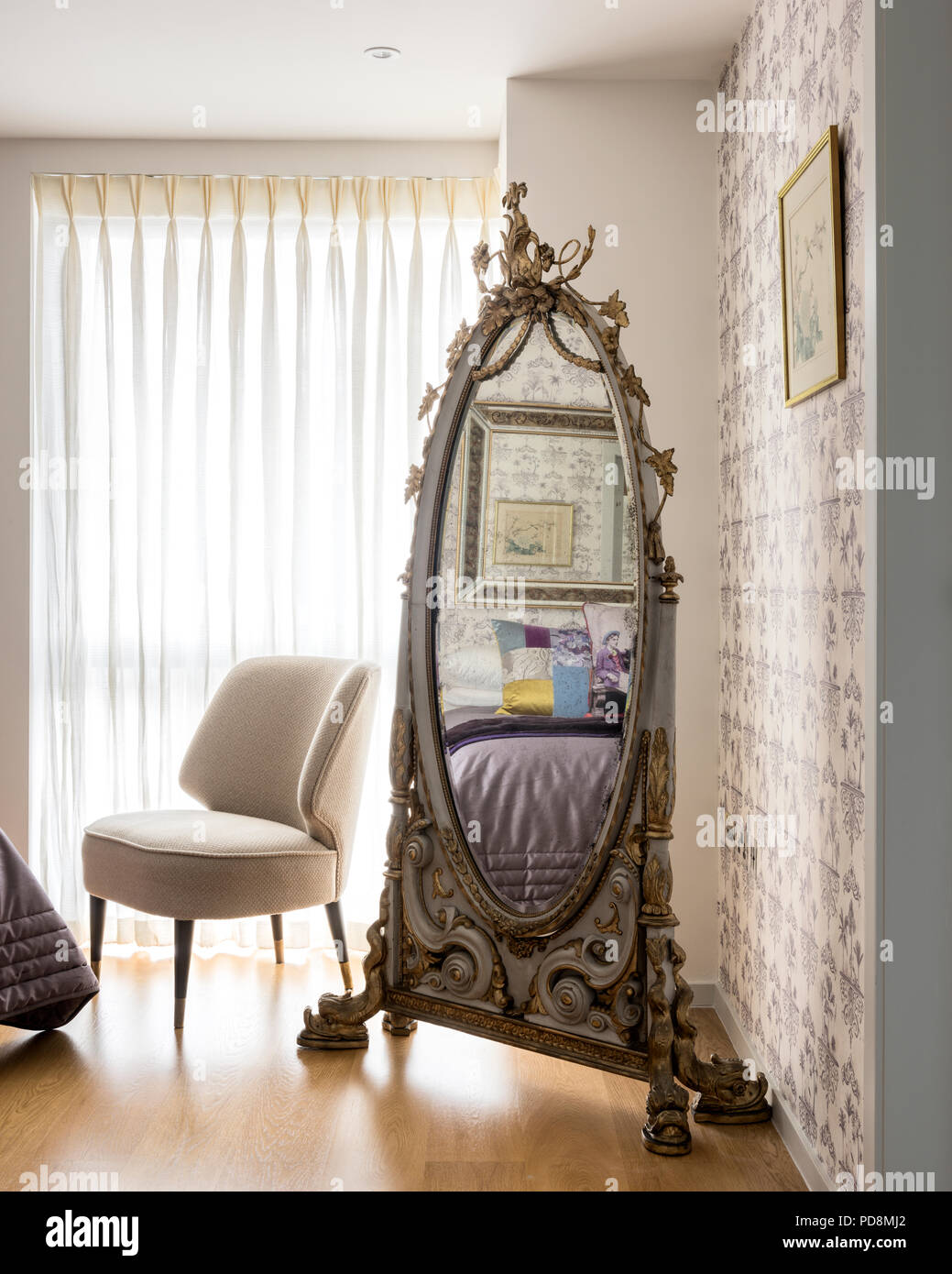 Decorative Full Length Mirror.Decorative Antique Full Length Mirror And Chair With Closed