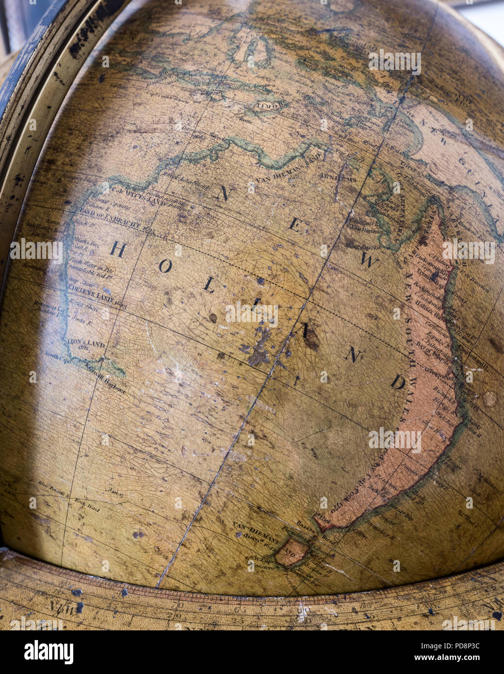 Large antique globe showing New Holland - Stock Image
