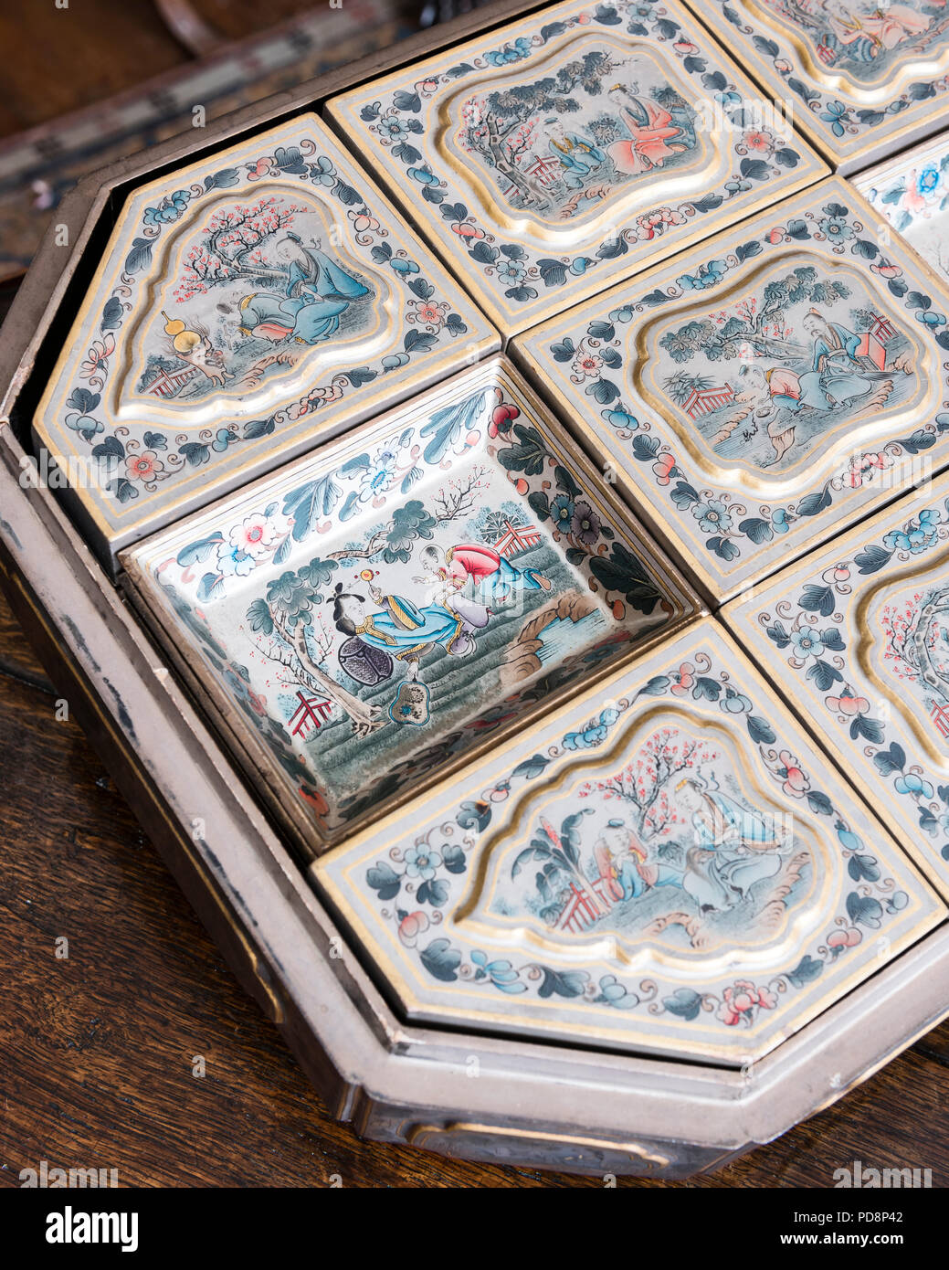 Oriental hand painted chinaware - Stock Image