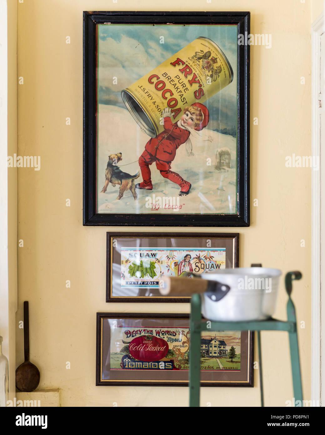 Three framed vintage food posters - Stock Image