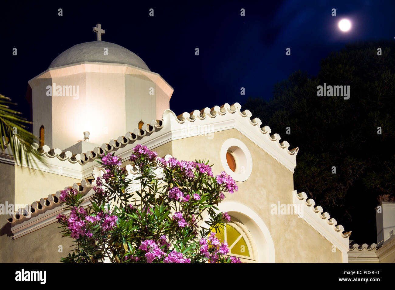 Agios Mamas church on the waterfront of  Spetses town. Situated near  between the new and old ports of the main town on the island. - Stock Image