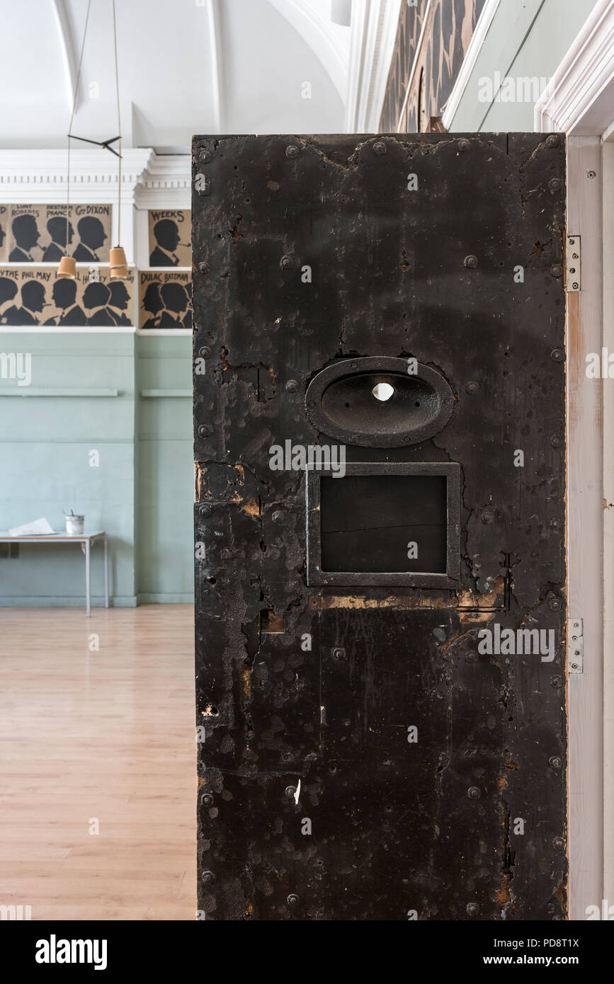 Entrance door into the clubroom at London's Sketch Club - Stock Image
