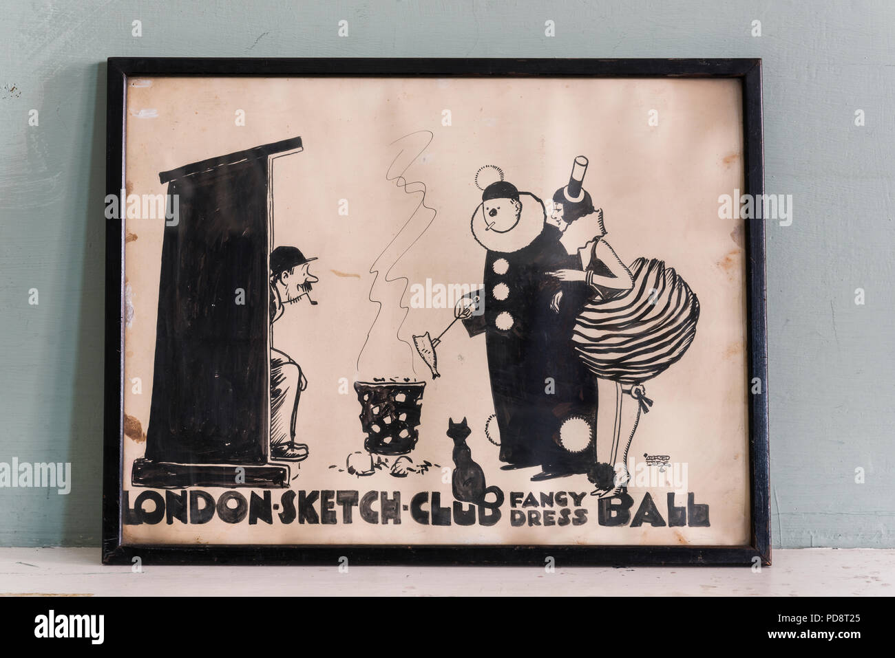 Framed invitation to a party at London's Sketch Club - Stock Image