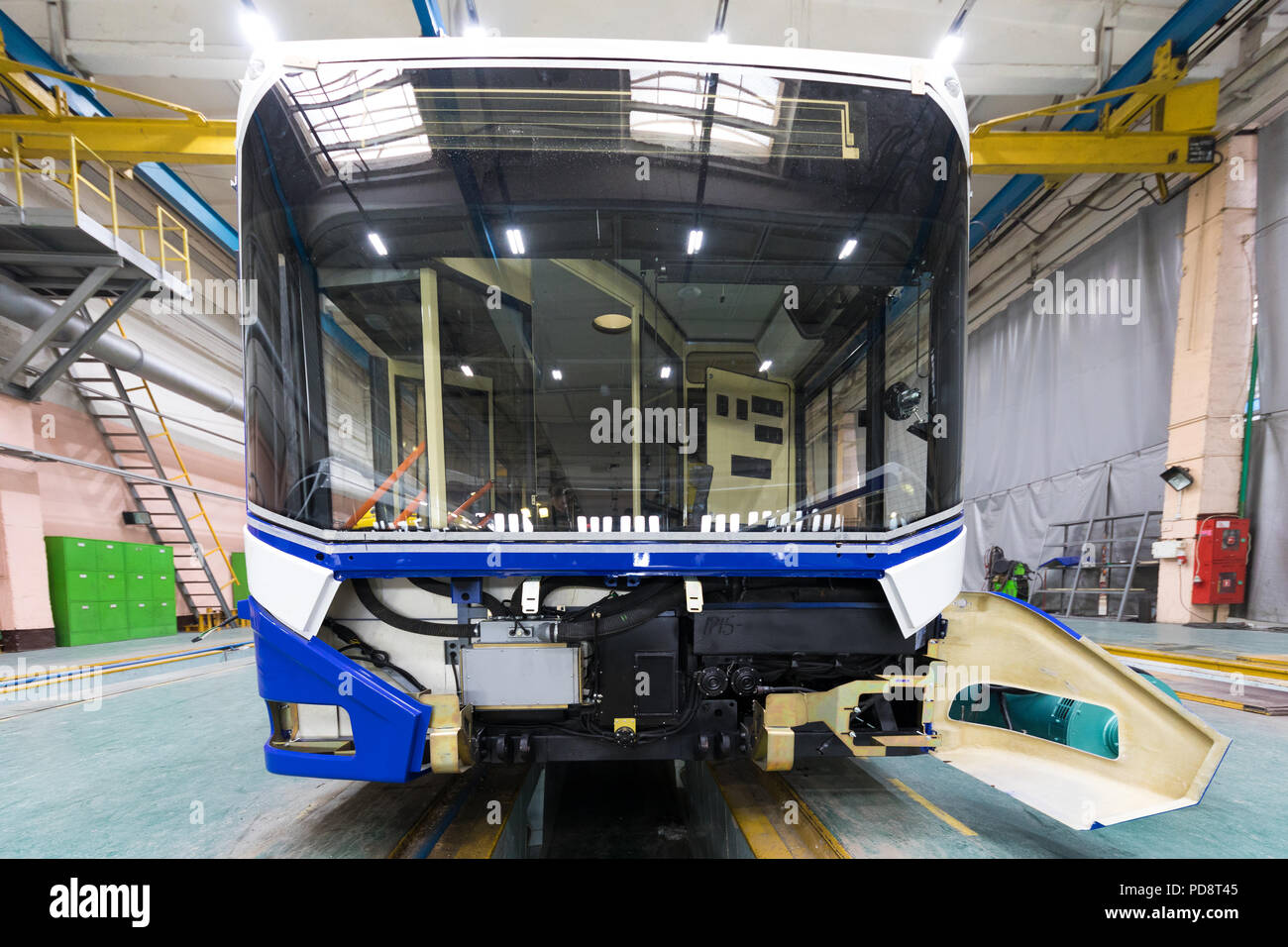 Trolleybus production line - Stock Image