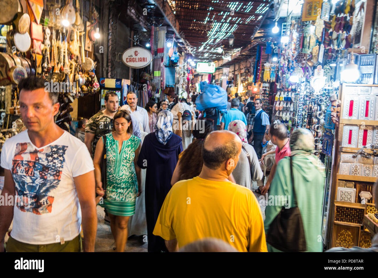 Marrakesh, Morocco - July 25th 2018 : view of a crowded craft market in medina Stock Photo