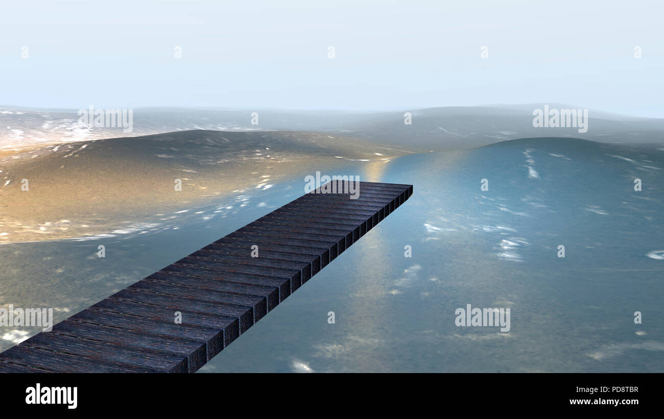 Wooden bridge over light blue water with gold shimmer. 3d illustration - Stock Image