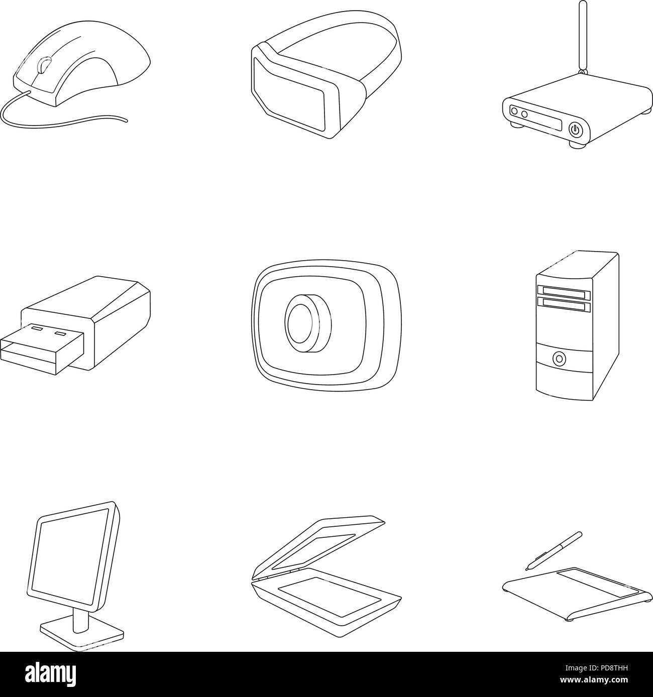 headphones, computer parts, accessories personal computer icon in set  collection on outline style vector symbol stock web illust