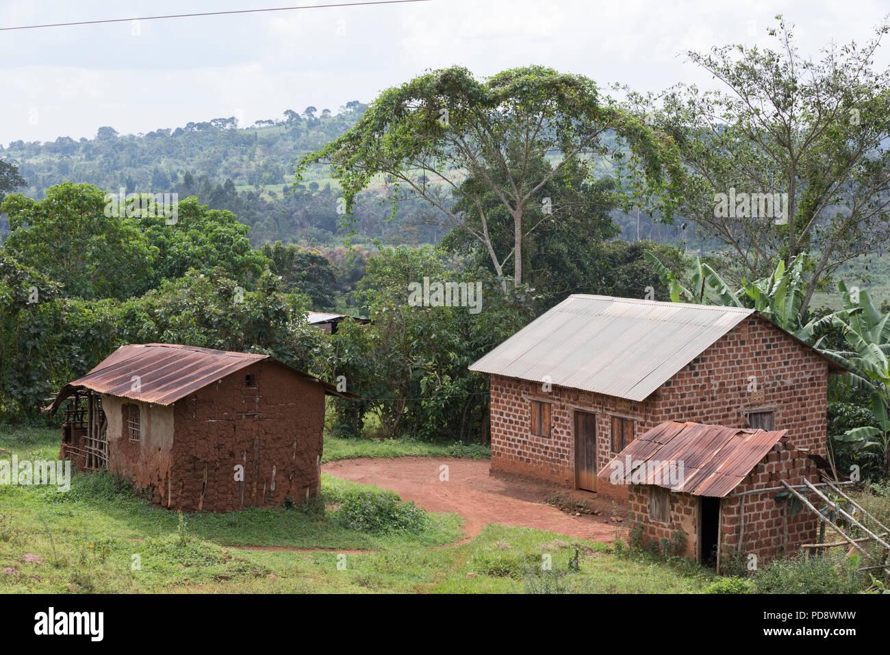 Rural village scene in Mukono District, Uganda. - Stock Image