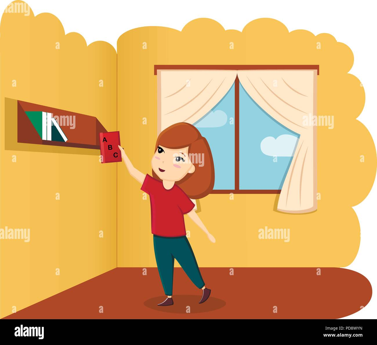 Girl with book in room, illustration, vector. A child with a book. First day of school, back to school - Stock Image