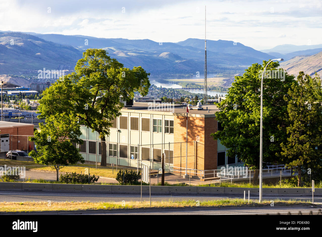 Evening light on the town of Kamloops, British Columbia, Canada - Stock Image