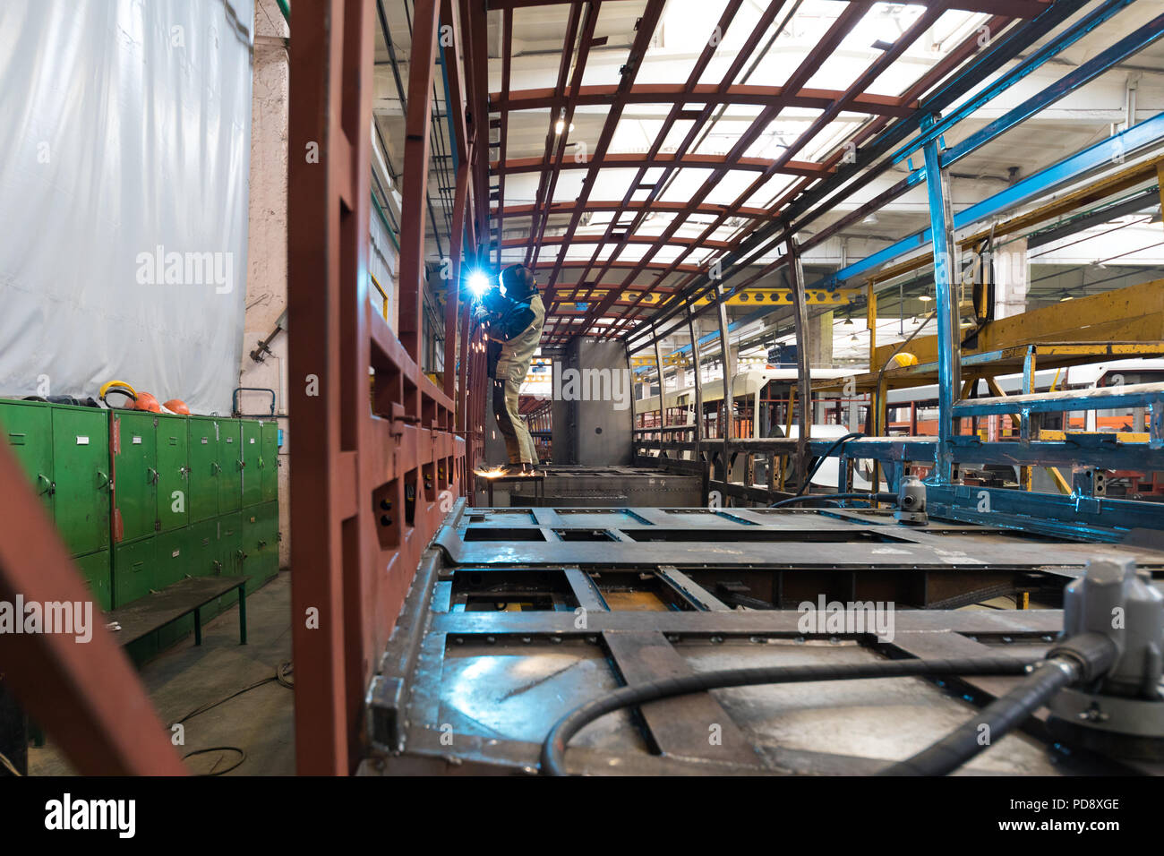Tram production manufacture Stock Photo