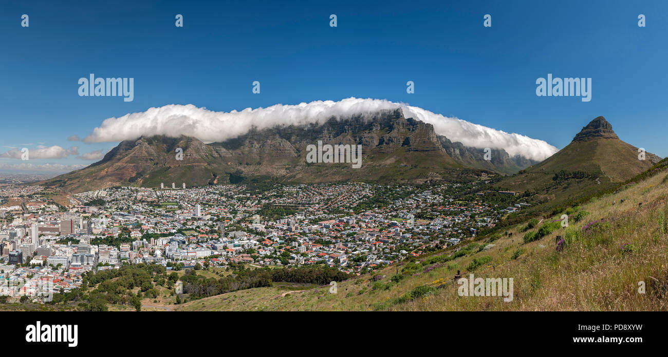 Panoramic of Table Mountain in Cape Town, South Africa. - Stock Image