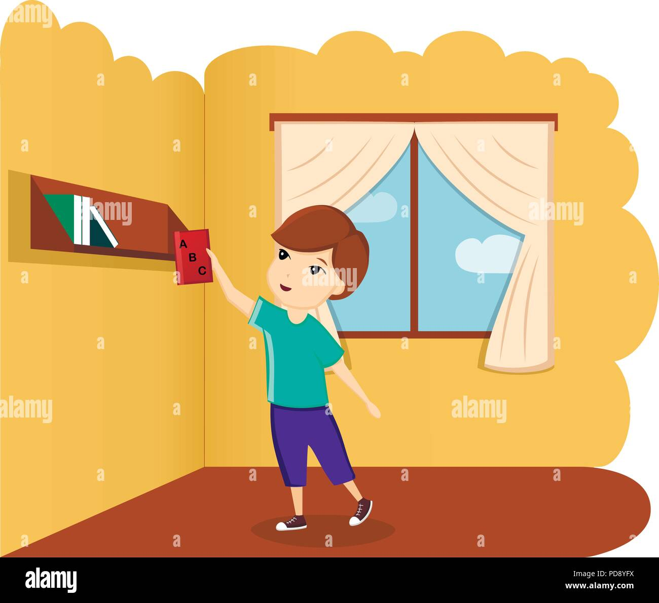 Boy with book in room, illustration, vector. A child with a book. First day of school, back to school - Stock Image