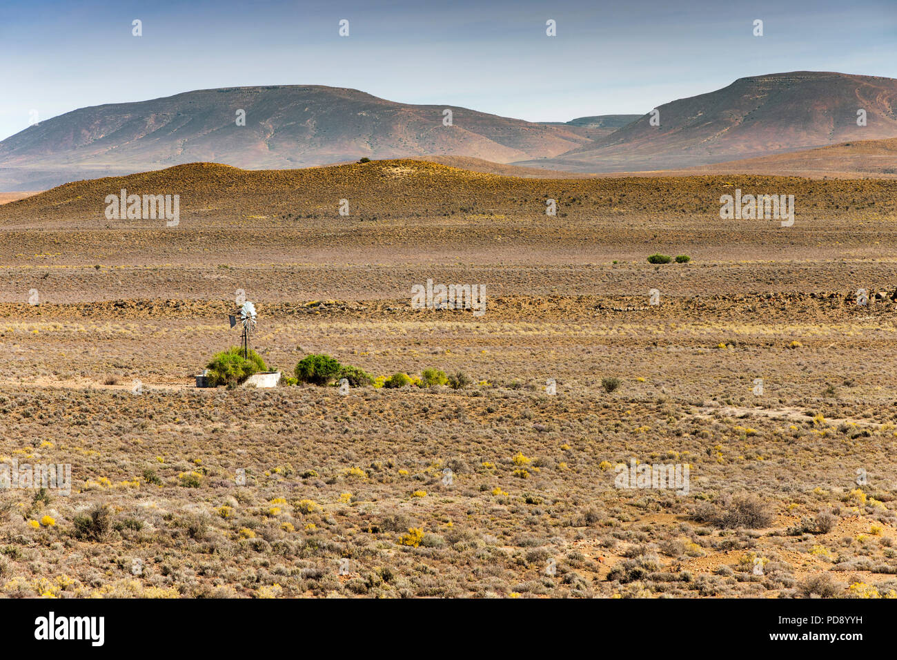 Windmill in the Karoo region of South Africa. - Stock Image