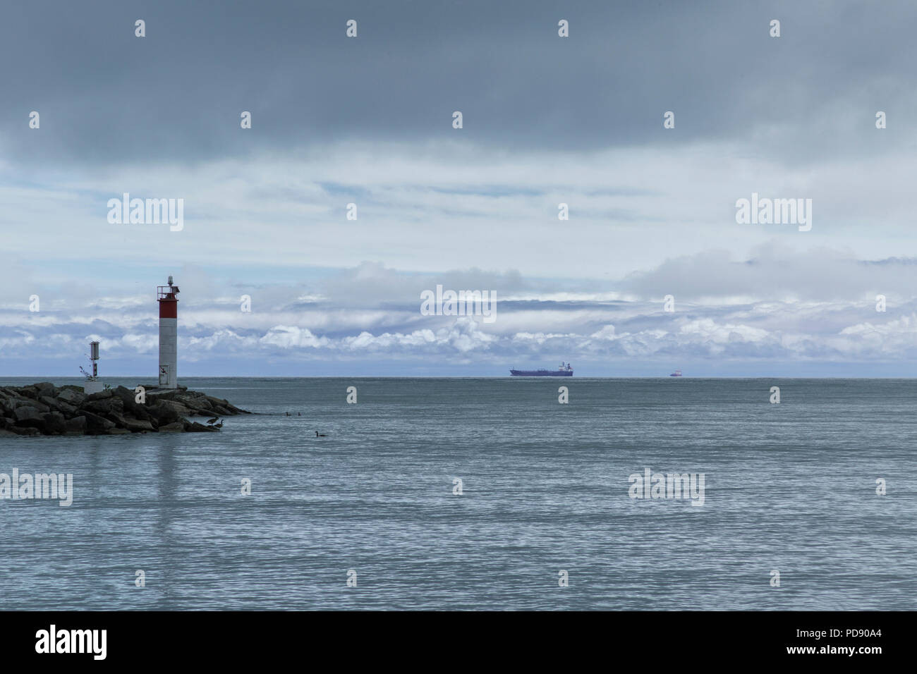 Port Dover Ontario Canada. Harbor and freighters on Lake Erie - Stock Image