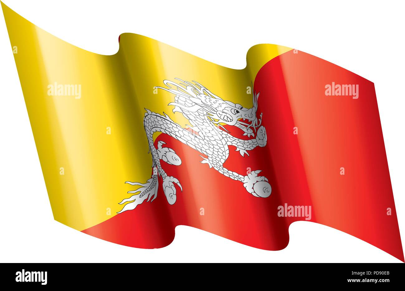 Bhutan flag, vector illustration - Stock Vector