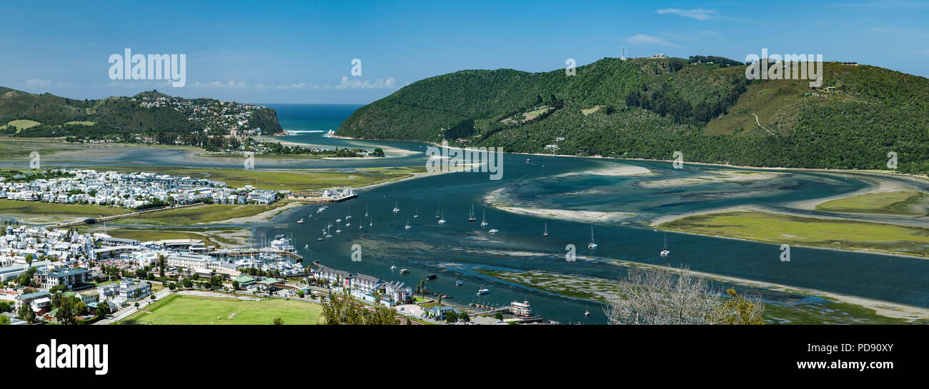 Panoramic view of Knysna Lagoon seen from Knysna Heights on the Garden Route in the Western Cape Province, South Africa. - Stock Image