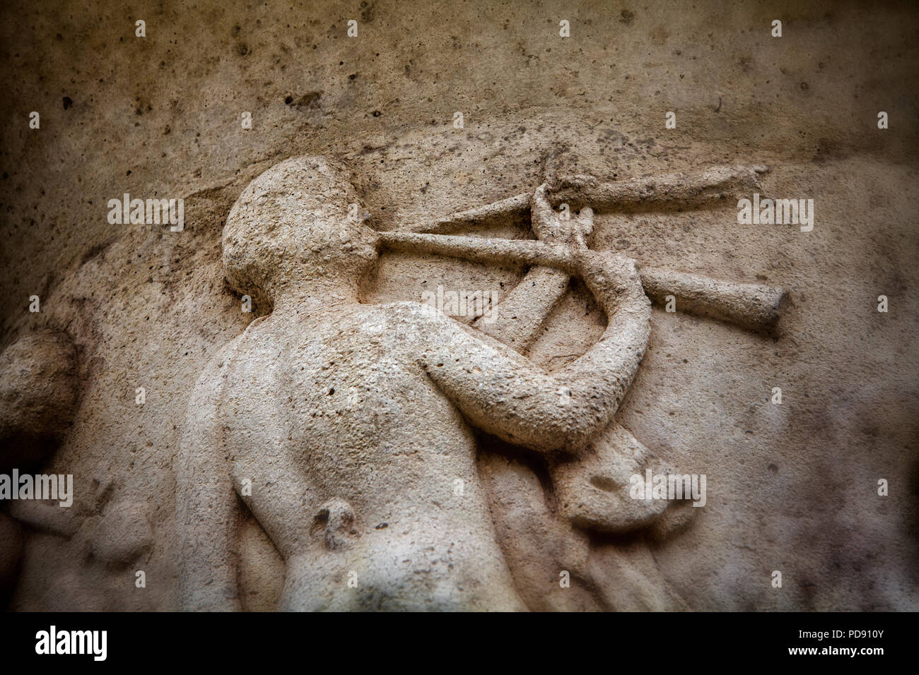 Greek mythology, old Greek vase relief - Stock Image