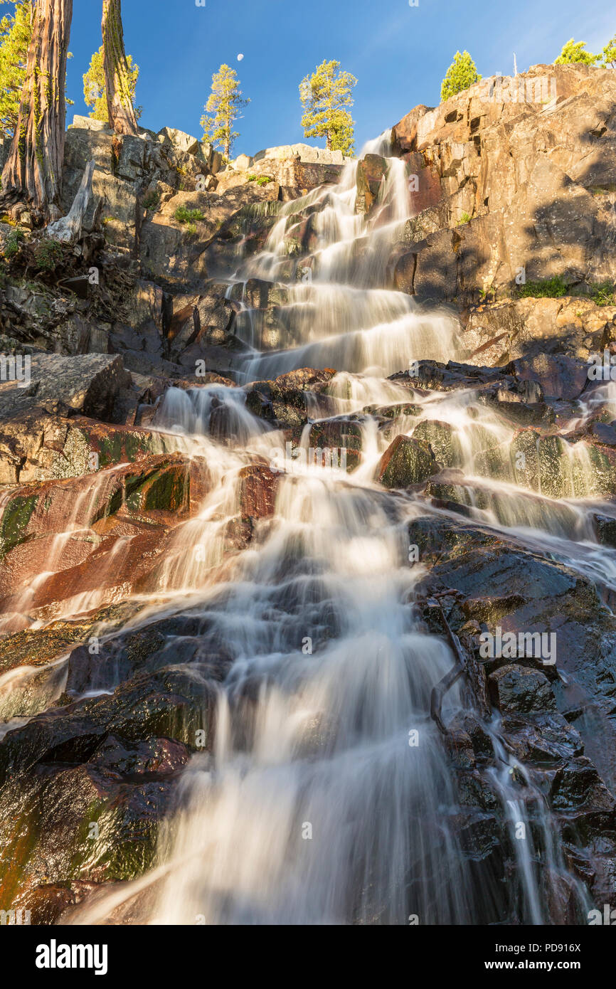 Morning light on Eagle Falls off Lake Tahoe in Emerald Bay State Park, South Tahoe, California. Stock Photo