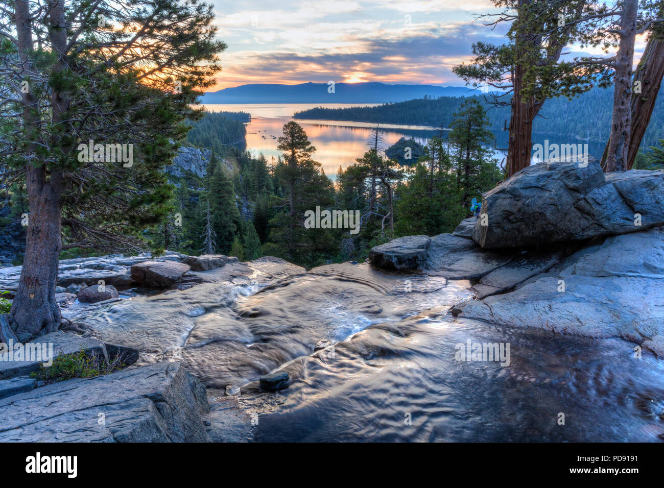 Colorful sunrise on Emerald Bay from the top of Eagle Falls off Lake Tahoe in California. Stock Photo