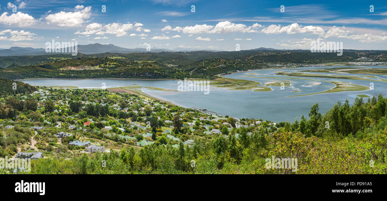 Panoramic view of the Knysna Lagoon on the Garden Route in the Western Cape Province, South Africa. - Stock Image
