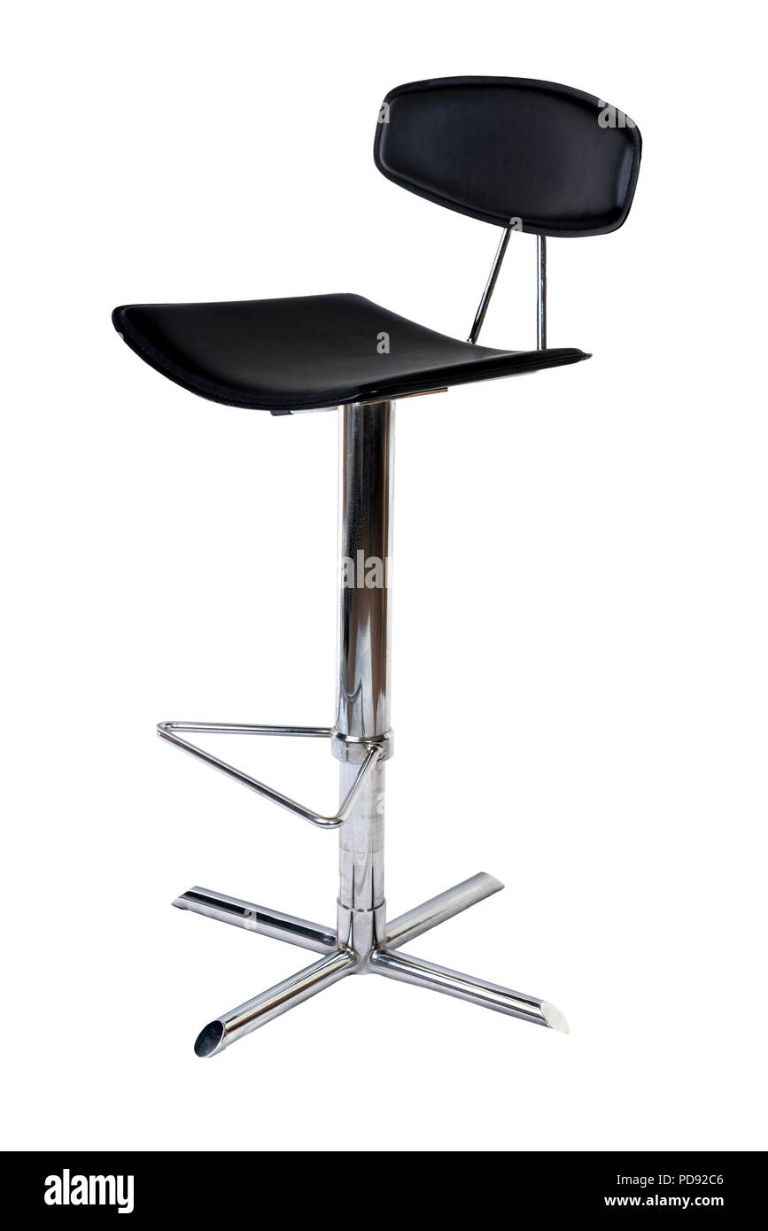 Black leather and chrome bar stool on a white background. - Stock Image