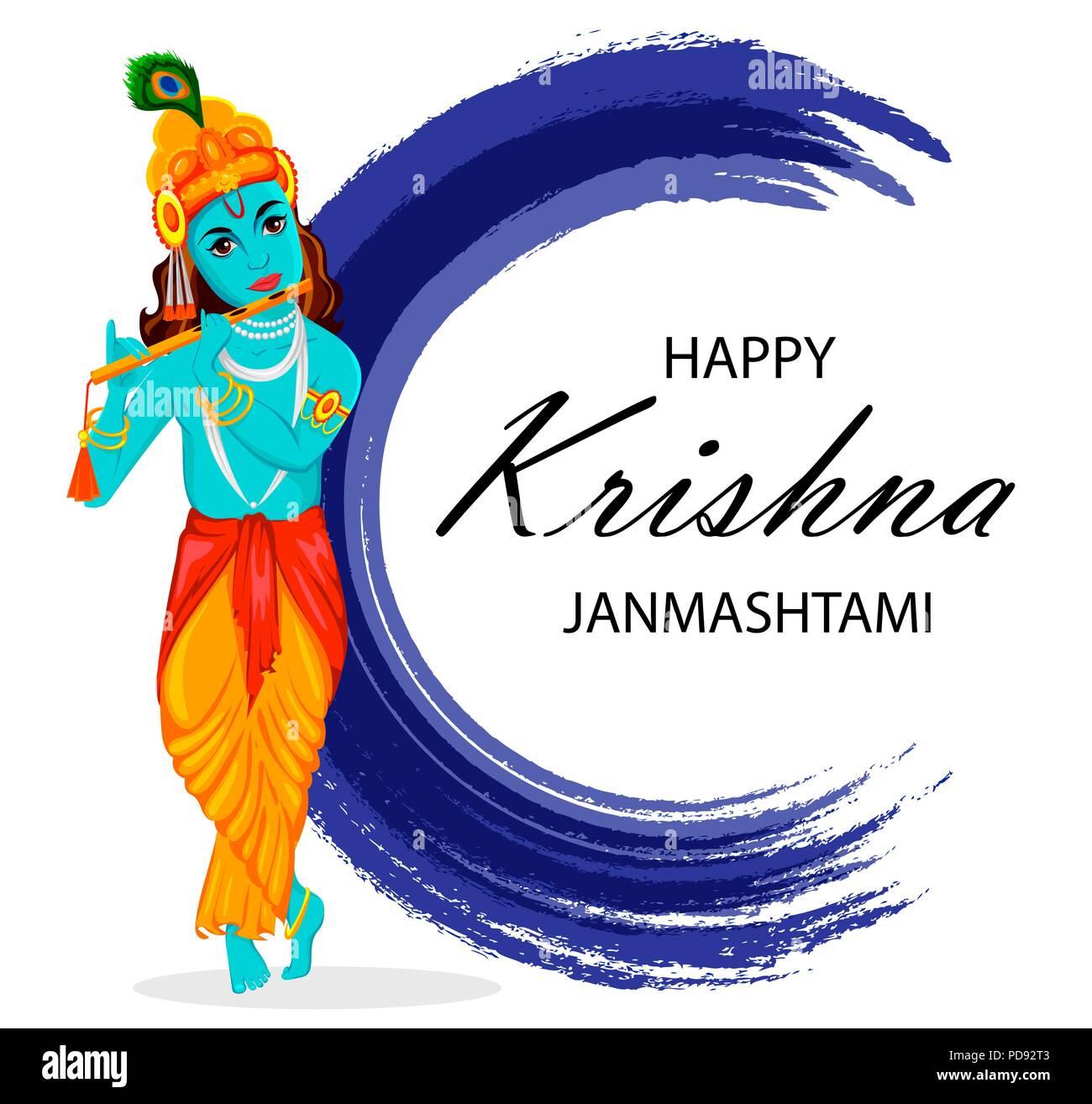 Happy Krishna Janmashtami Greeting Card Lord Krishna Indian