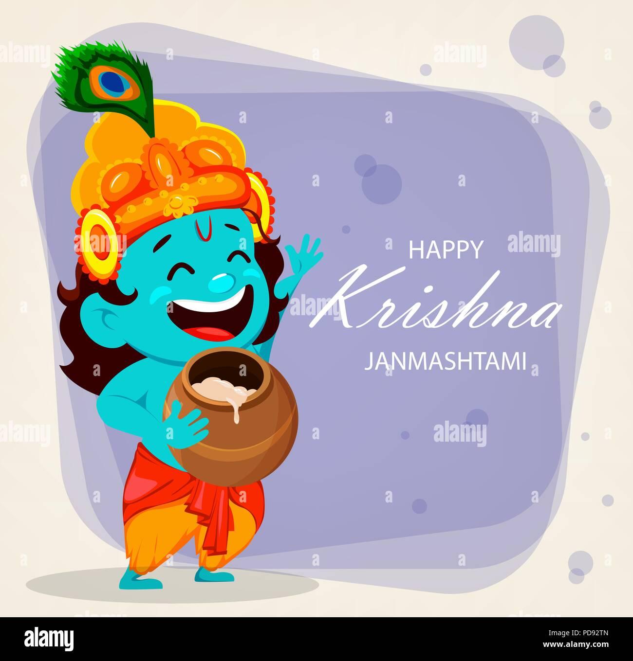 Happy Krishna Janmashtami greeting card. Funny cartoon character Lord Krishna Indian God holding pot. Vector illustration on purple background - Stock Image