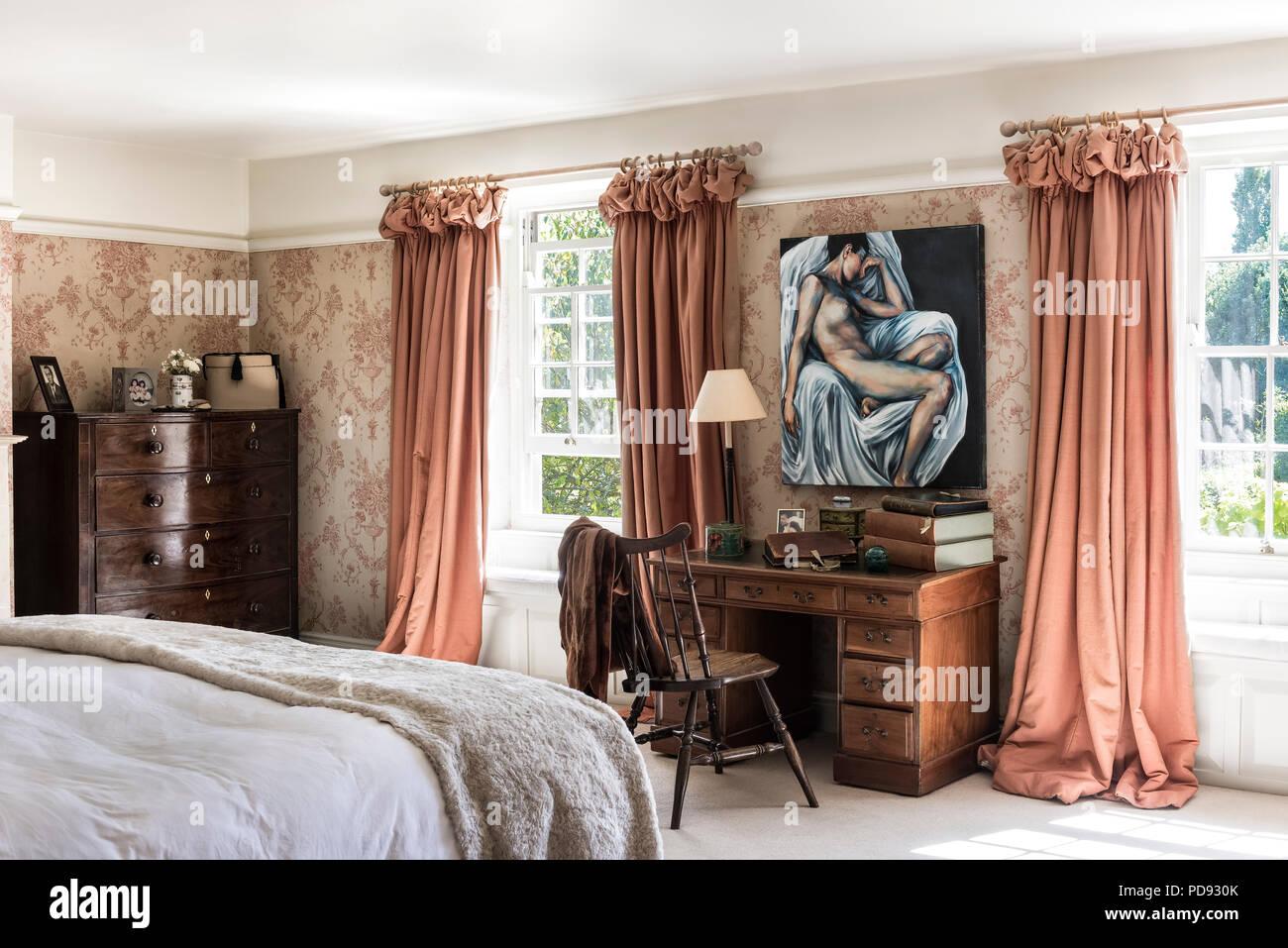 Toile De Jouy Wallpaper In Bedroom With Heavy Linen Curtains