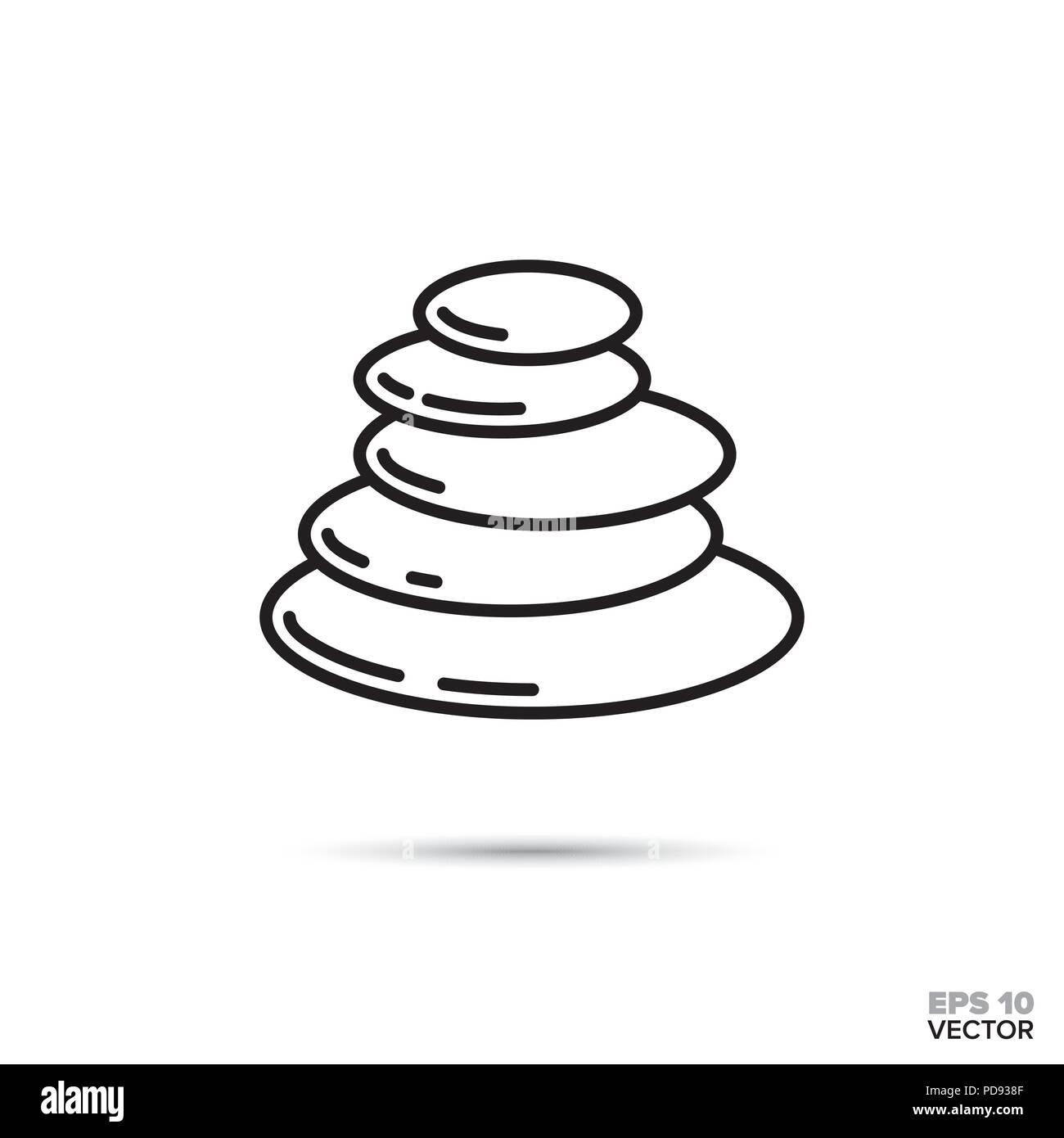 Stack of pebbles vector line icon. Zen, meditation and harmony symbol. - Stock Vector