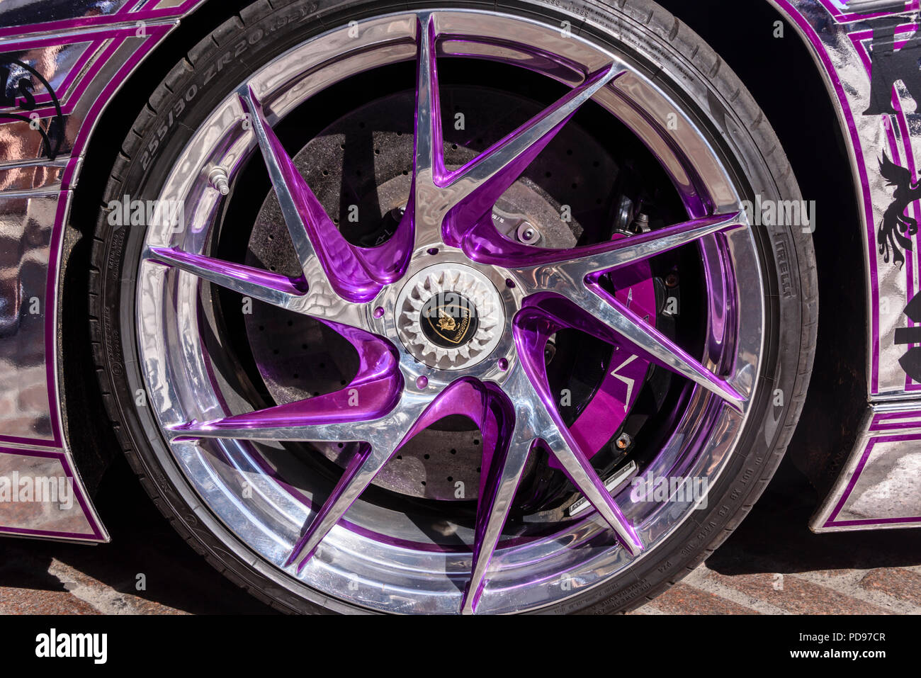 Chrome And Purple Wheel On T Chrome Plated Lamborghini Aventador