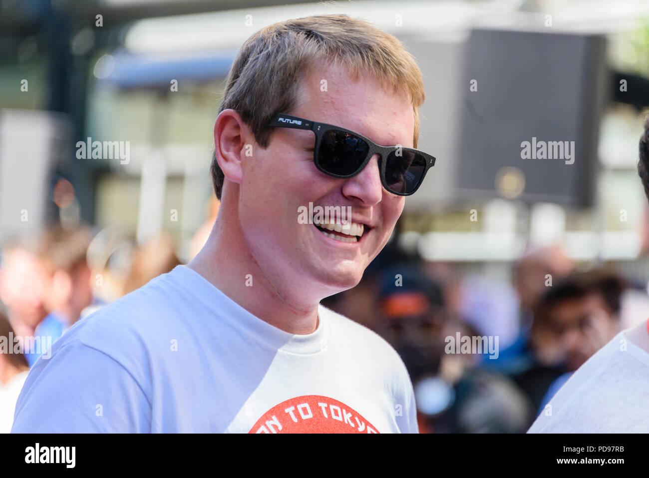 Covent Garden, London, UK.  05/08/2018.  @Schmee150 (Tim Burton) at the start of the 2018 Gumballl 3000 rally. Stock Photo