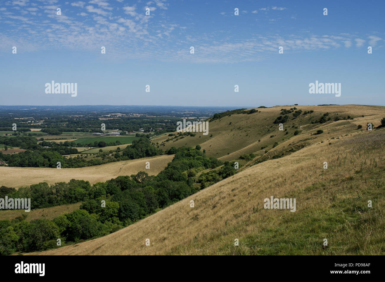 View of the South Downs from Ditchling Beacon on a sunny summer day - West Sussex, UK - Stock Image