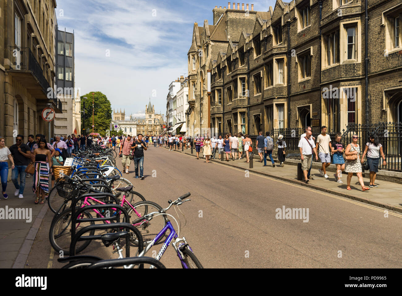 Trumpington street with pedestrians and view towards Kings Parade and Gonville and Caius College, Cambridge, UK Stock Photo