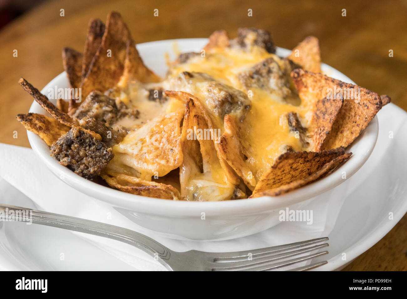 haggis nachos served at Machrihanish Dunes golf course Old Clubhouse, Scotland, UK - Stock Image
