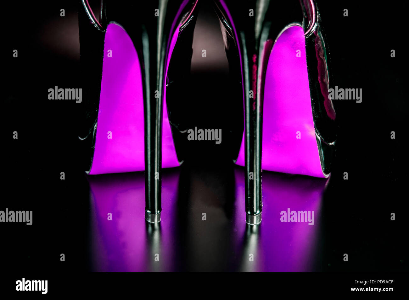 Drag Queen high heel shoes. Dancer performance fancy shoes. Shoes for the club. - Stock Image