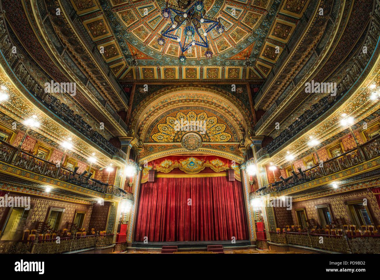 Interior of the historic Juarez Theater in Guanajuato, Mexico. - Stock Image