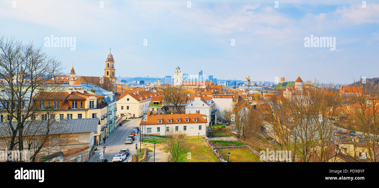 View of Vilnius from the hill of Three Crosses point of view to the  Vilnius City. Lithuania. Stock Photo