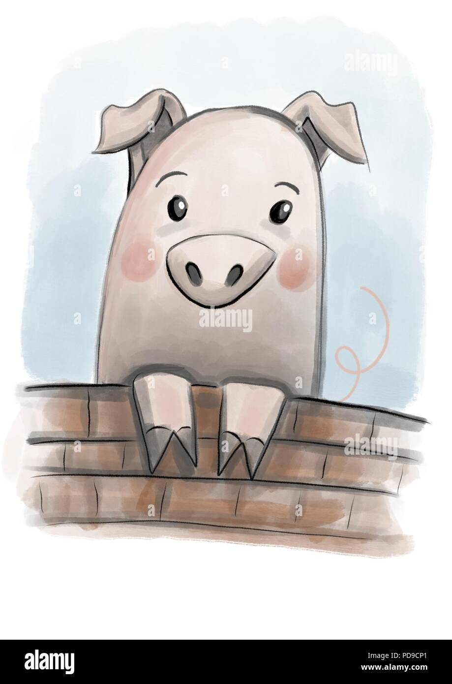 a pink pig peering over a wall - Stock Image