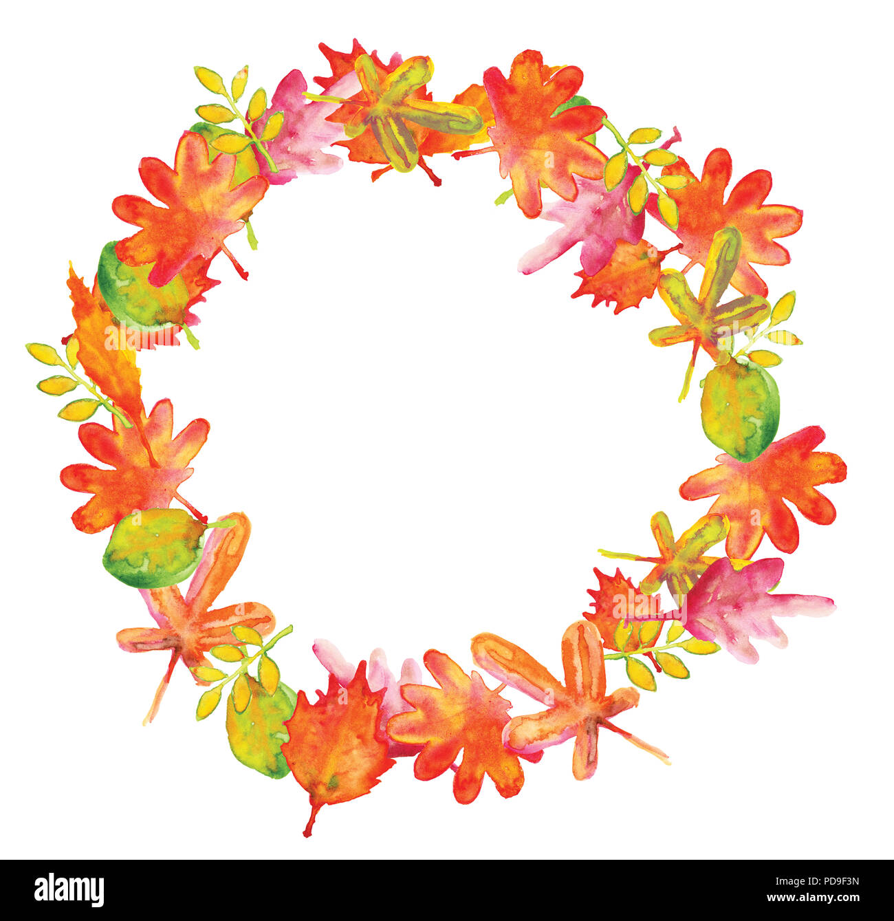 the watercolor illustration of fall leaves wreath frame in warm