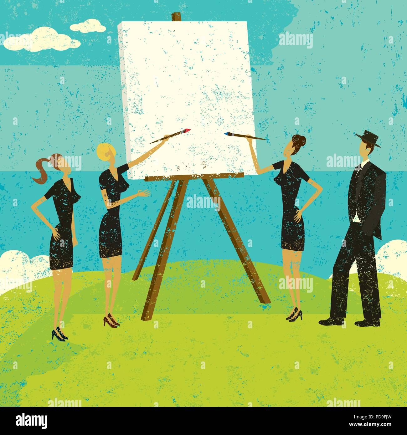Working with a Blank Canvas. Business people working with a blank canvas to figure out their strategy. - Stock Vector