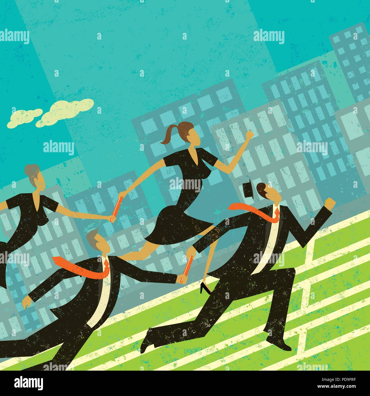 Passing the Baton. Older competing business people passing the baton, or control, to the younger business people who run faster. - Stock Vector