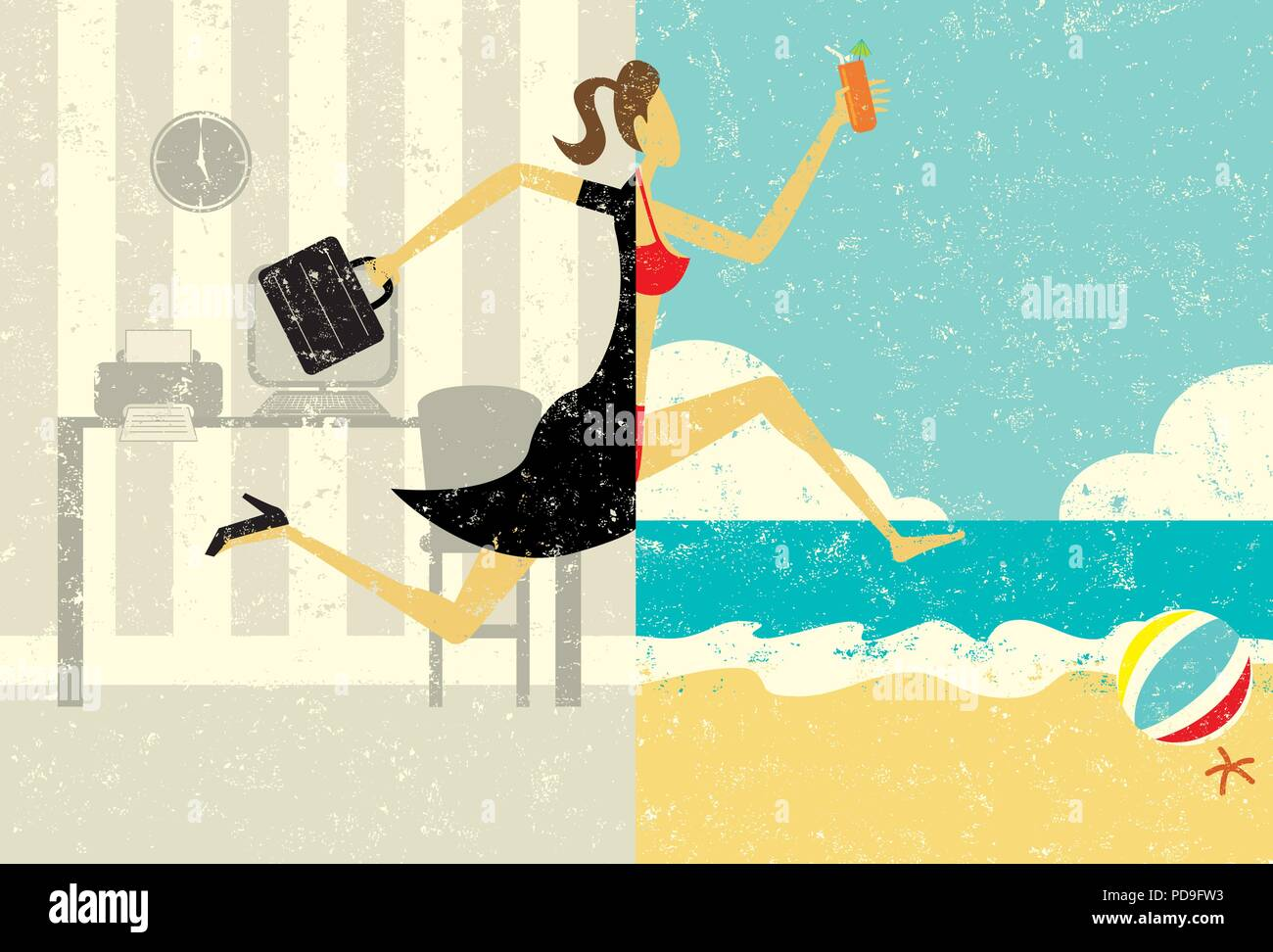 Transition to Vacation. A businesswoman with a briefcase making a split image transition to wearing a bikini on a beach vacation. - Stock Vector