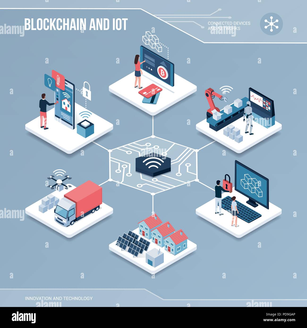 Digital core: blockchain, shared networks and iot isometric infographic with people - Stock Vector