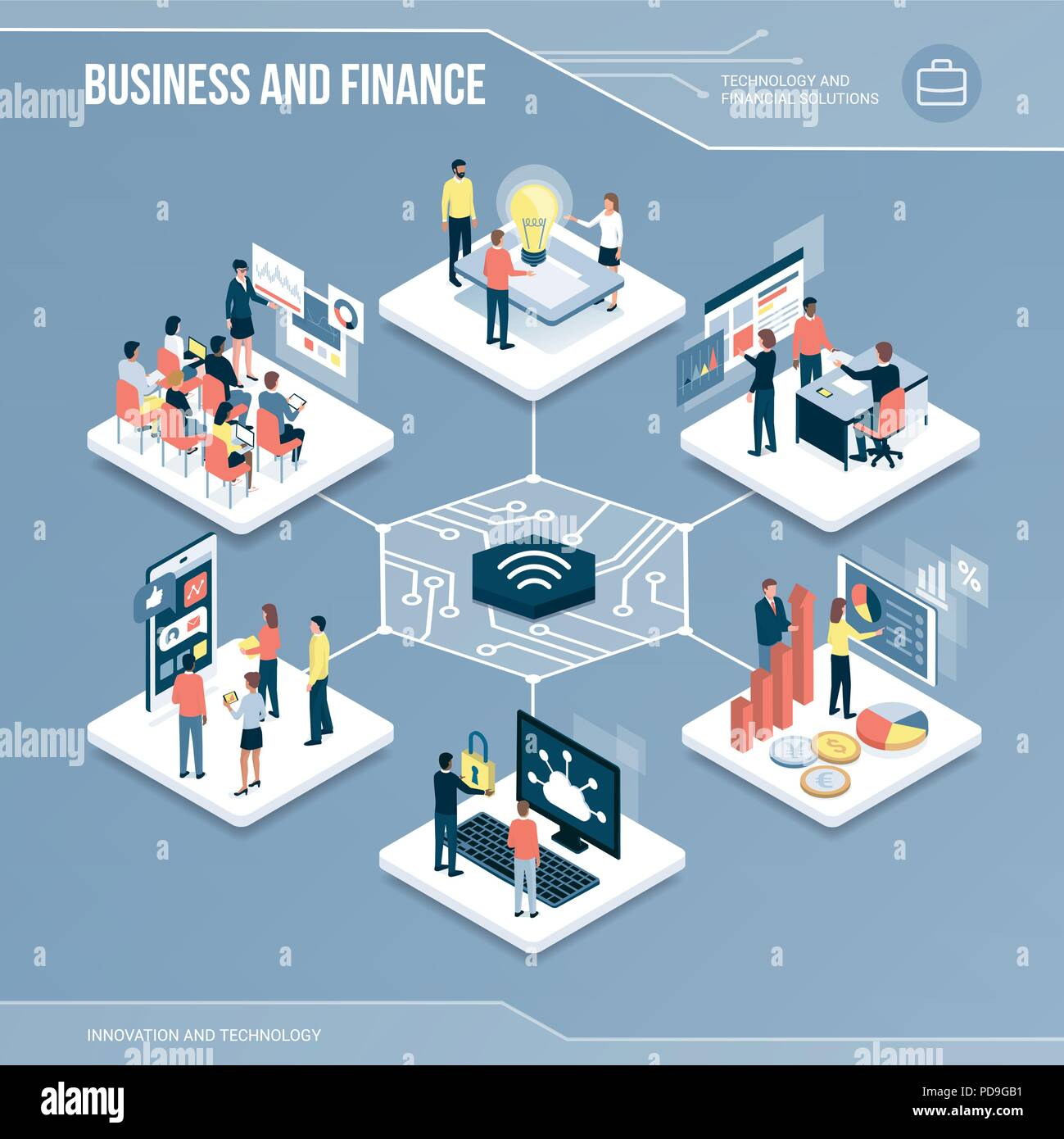 Digital core: business, finance and networks isometric infographic with people - Stock Vector