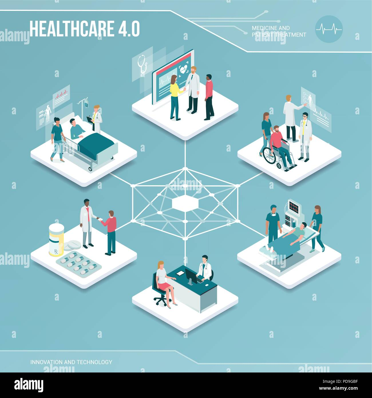 Digital core: online healthcare and medical services isometric infographic with people - Stock Vector