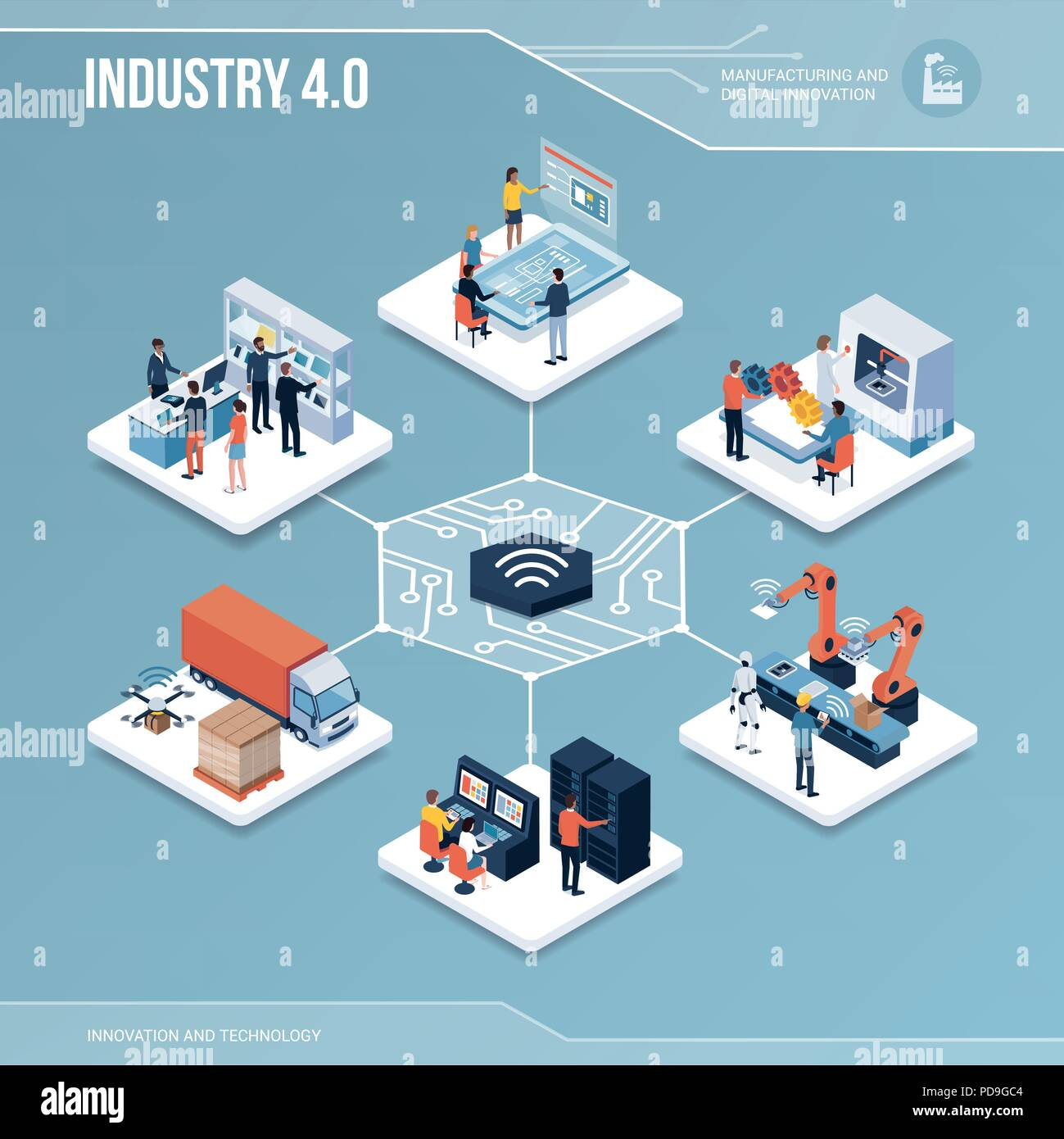 Digital core: industry 4.0, production and automation isometric infographic with people - Stock Vector