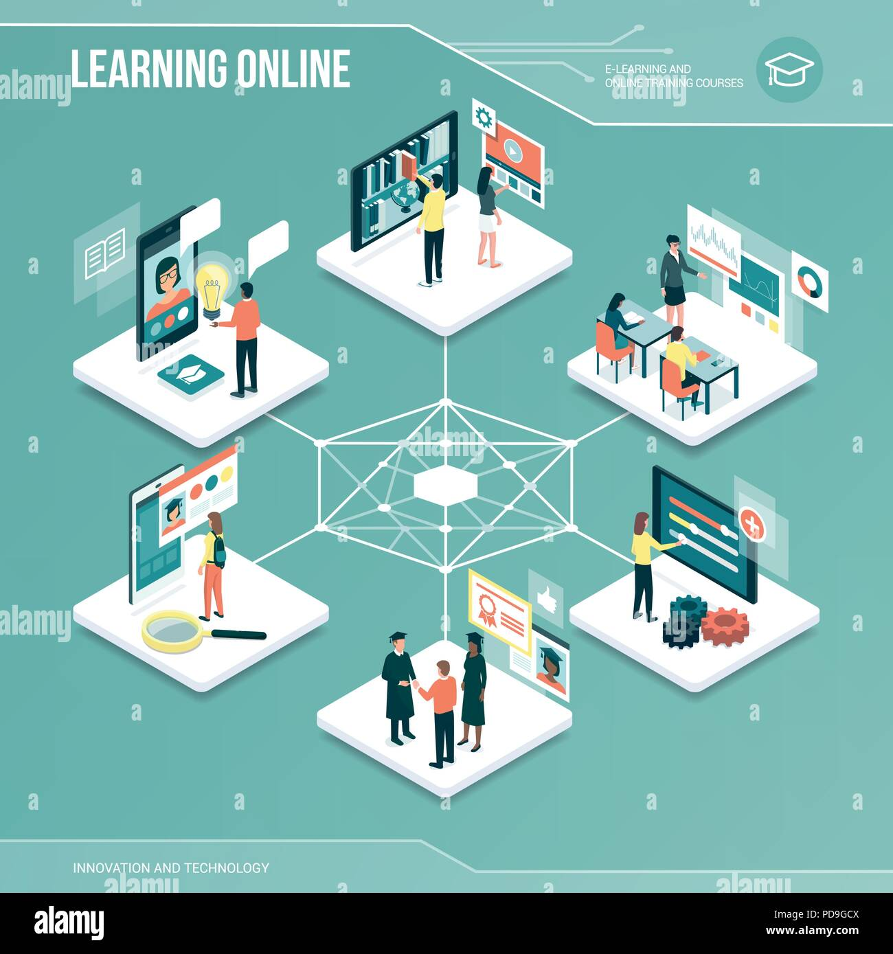 Digital core: online learning, university and job application isometric infographic with people - Stock Vector