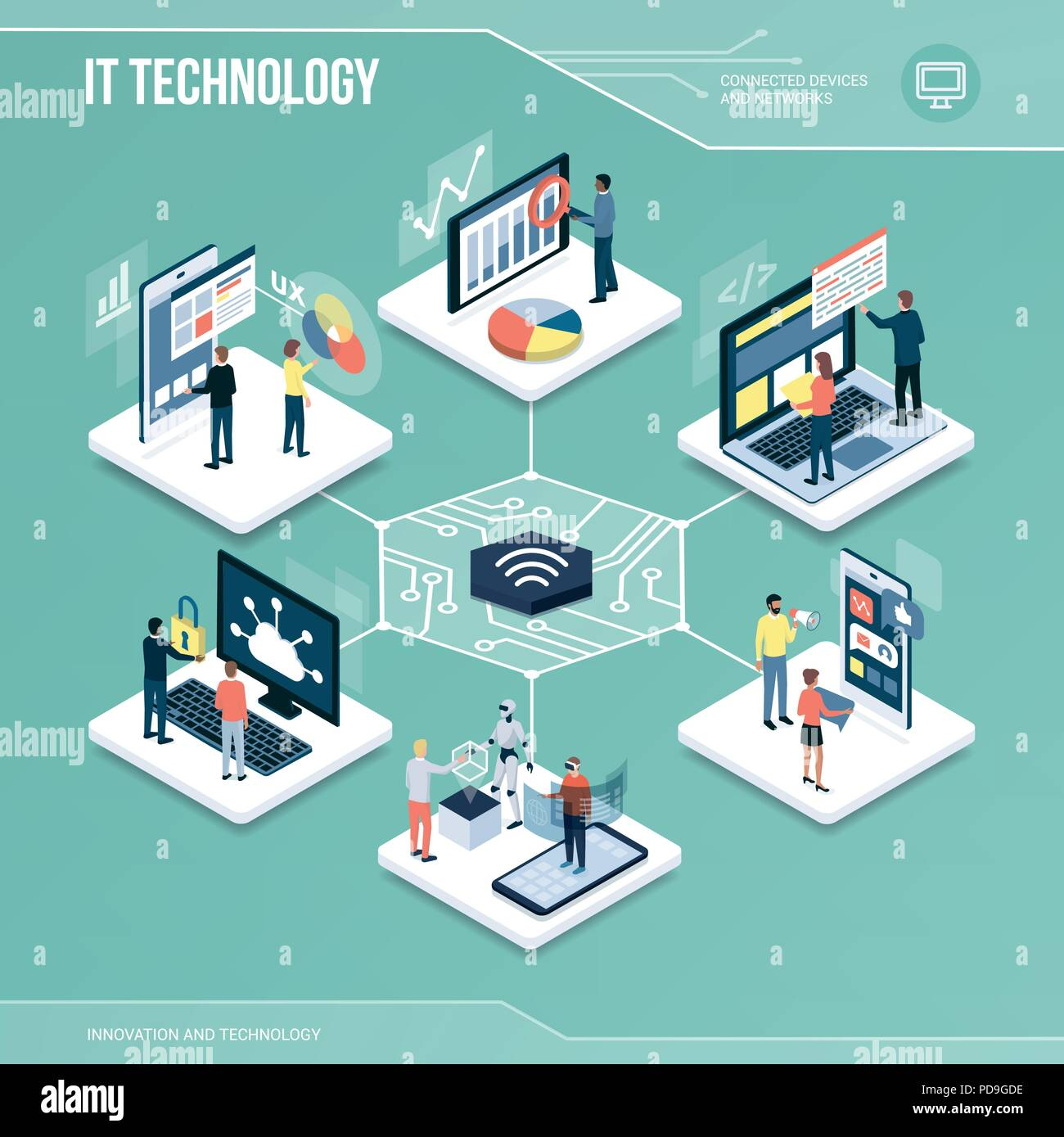 Digital core: IT technology, marketing and networks isometric infographic with people - Stock Vector